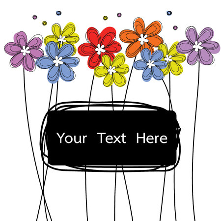 flowers doodle with black label for text vector
