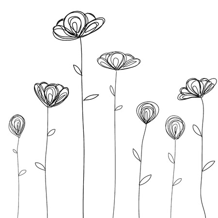 black and white flowers: flowers doodle sketch isolated vector Illustration