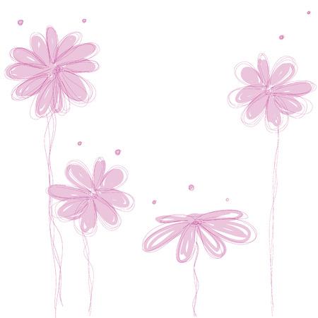 sweet pink flowers doodle background isolated vector Ilustração
