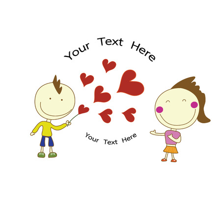 sent: smile boy sent red hearts to happy girl for Valentines Day with your text