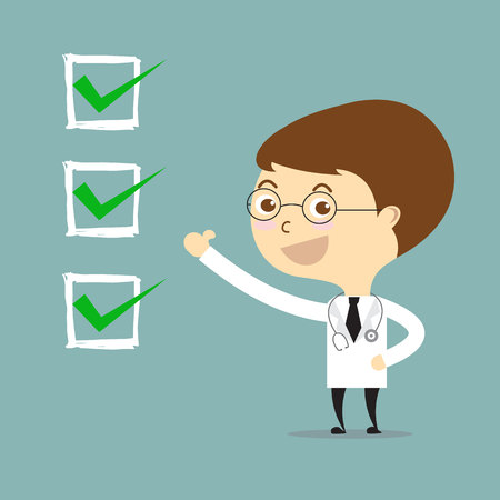 doctor thumbs up with check in white square vector Illustration