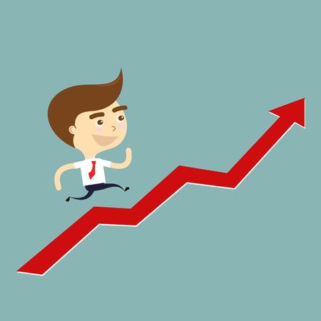 grow up: businessman running grow up graph vector Illustration
