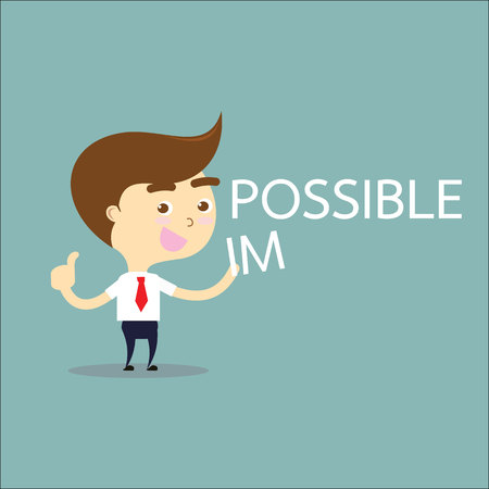possible: businessman thumb up with word possible vector Illustration