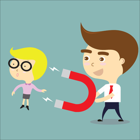 use: businessman use magnet for attract businesswoman vector