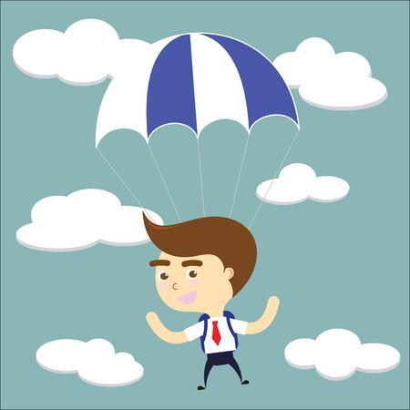 businessman falling sky with blue parachute vector Vector