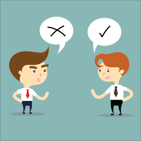 two businessman thinking opposites with right and wrong sign vector Ilustração