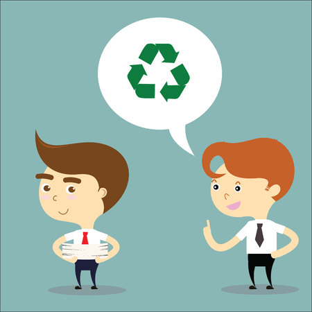 suggest: businessman suggest his friend to reuse paper vector