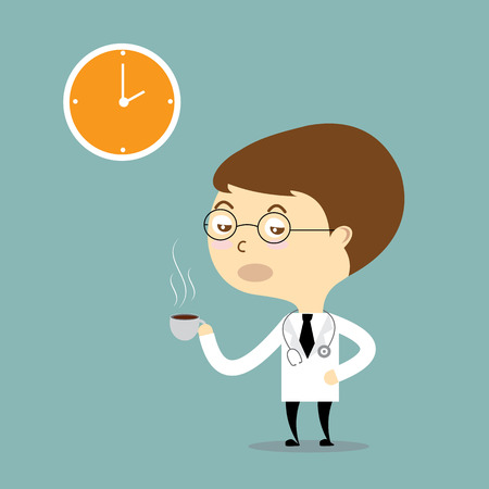 stimulate: doctor drink hot coffee with clock vector