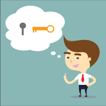 escape key: businessman has solution of problem with key