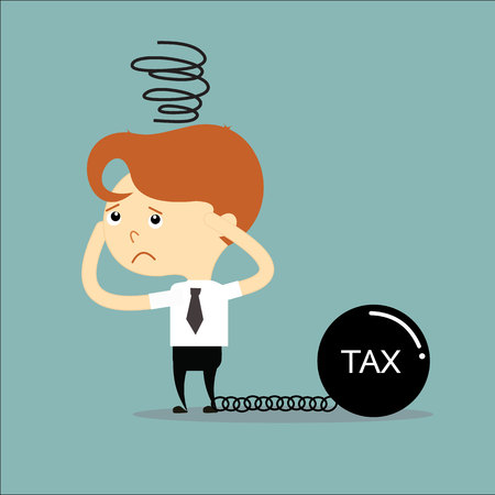 businessman has a problem with tax black chain and weight vector Vector