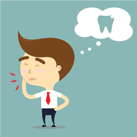 severe: businessman is toothache vector Illustration
