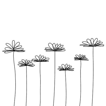검은 낙서 꽃 벡터