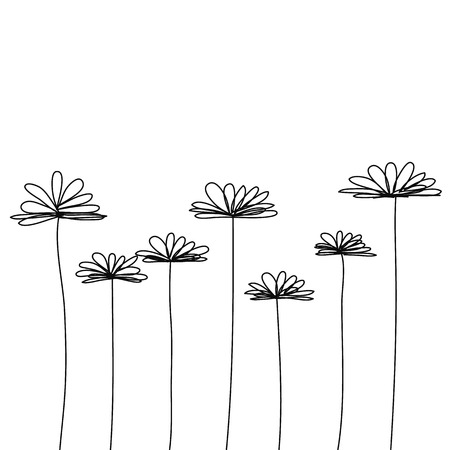 black doodle flower vector Ilustração