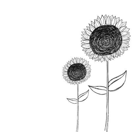 黒と白のひまわり落書きベクトル