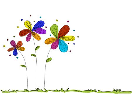 flower doodle color with grass background and white space vector