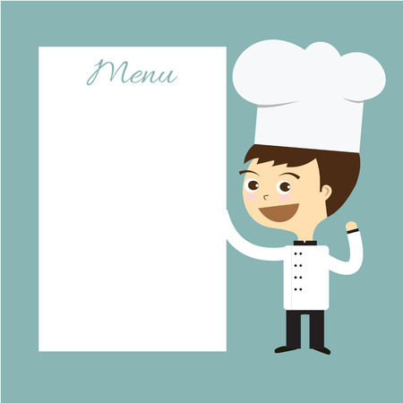 cook chef smile with white menu banner vector