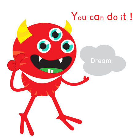 Pokka monster thumps up and holding dream with word you can do it Illustration