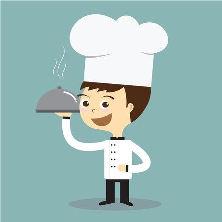 hot plate: cocinero cocinero que sostiene la placa caliente con el vector de fumar