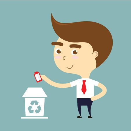throwing: businessman throwing a bottle to recycle bin vector Illustration
