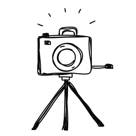 camera with tripod hand drawn vector 일러스트