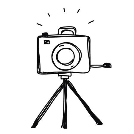 camera with tripod hand drawn vector Ilustração