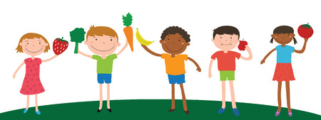 children eating: smile children diversity holding fruit and vegetable for eating vector
