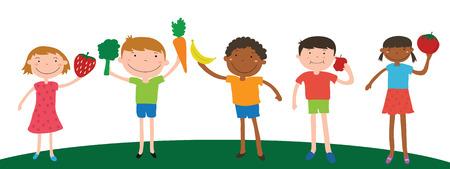 Sorria diversidade de crianças segurando frutas e vegetais para comer vector Foto de archivo - 42656943