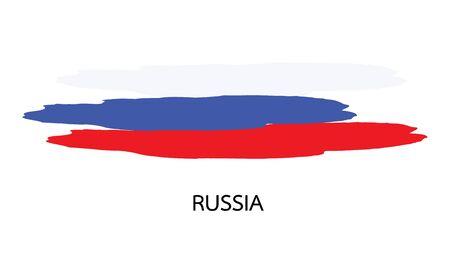 bandera rusia: Bandera de Rusia acuarela vector Vectores