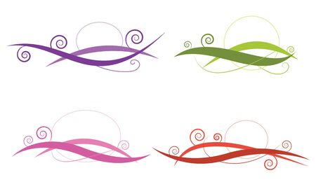 swirl line abstract four style color set vector for element , decoration,logo,banner,frame