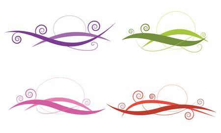 Wirbel Linie abstrakte vier Stil Farbe gesetzt Vektor für Element, Dekoration, Logo, Banner, Rahmen Standard-Bild - 42656950