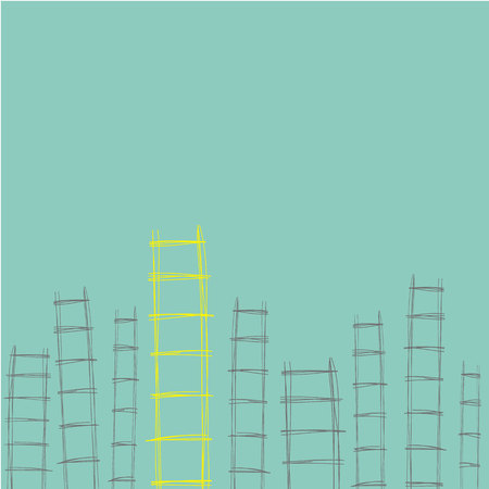 opportunity: ladders hand drawn different for concept of opportunity to success in business vector
