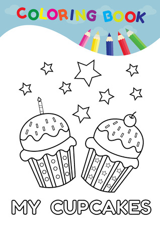 scrap book: Vector illustration coloring page of happy cartoon cupcake and number five for Preschool  children and scrap book Illustration