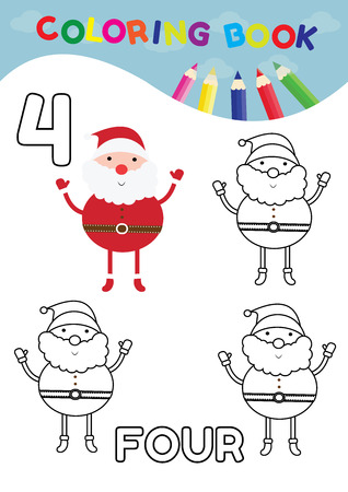 arithmetical: coloring book for kids number four with 4 santa claus vector