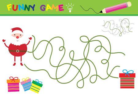 children santa claus: Cartoon Vector Illustration of Education Paths or Maze Game for Preschool Children with Children and Present Illustration