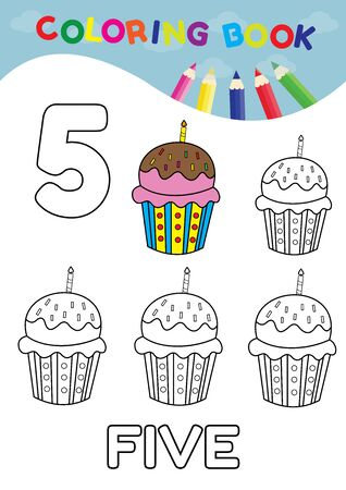 arithmetical: coloring book number five with 5 cupcakes vector for kids and education