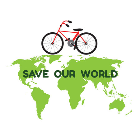 bycicle: bycicle on green world map and word save our world for environment and ecology vector Illustration
