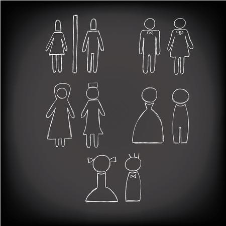 Weiße Toilette Symbol Hand gezeichnet Kreide Stil, mann, frau, moslems Vektor Standard-Bild - 43887862