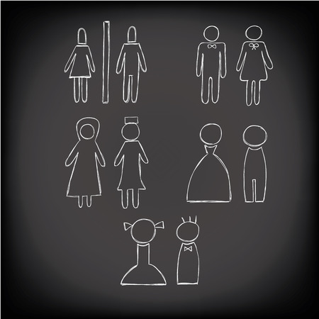 white toilet icon set hand drawn chalk style ,man ,woman,muslim vector Ilustração