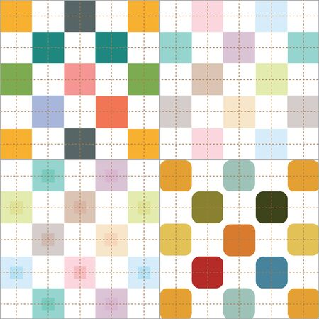 checker: retro and pastel color plaid checker pattern 4 styles set vector