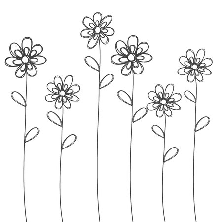 flowers hand drawn black isolated vector for background or card 일러스트