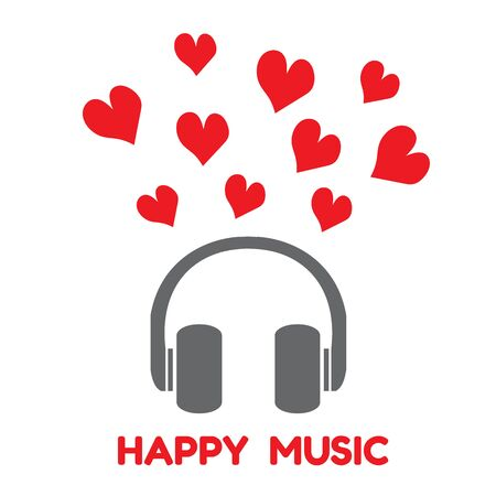 auriculares dj: auriculares de color gris con el coraz�n rojo y la palabra feliz de la m�sica del vector