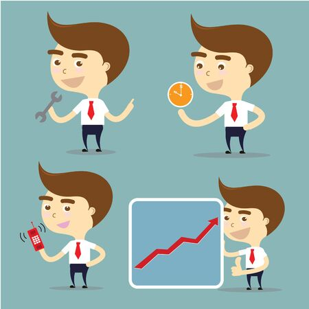 phone time: businessman set action for success, time important,mobile phone and fix problem vector