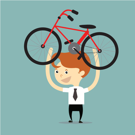 lift up: businessman lift up red and black bicycle for go to exercise after work vector