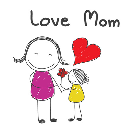 cartoon hand: daughter give flower to mother with word love mom hand drawn vector