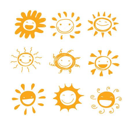 태양 미소 다양성 손 귀여운 세트 벡터를 그려 장식이나 교육 일러스트