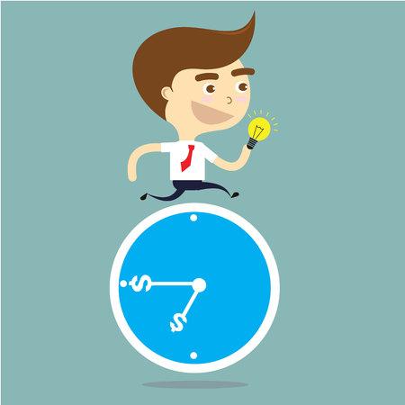 파란색 시계 벡터를 통해 아이디어를 제시하는 사업가