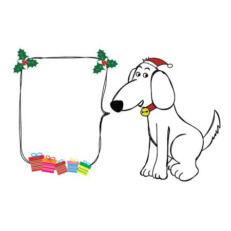 강아지 손으로 크리스마스 모자와 거품 스피치와 선물 벡터와 함께 앉아 그려진