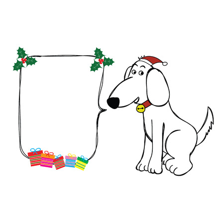 dog gift: dog hand drawn sitting with christmas hat and bubble speech and gift vector