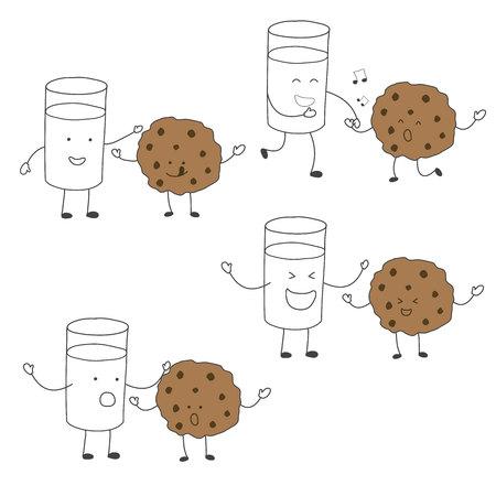 우유와 쿠키 친구 캐릭터 세트 춤, 건강한 그리기 벡터에 일치하는
