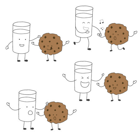 milk and cookies: Milk and cookies friends character set matching to dancing ,healthy drawing vector